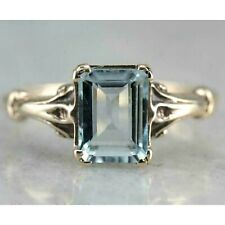2 Ct Emerald Aquamarine Vintage Solitaire Engagement Ring 14K Yellow Gold Finish
