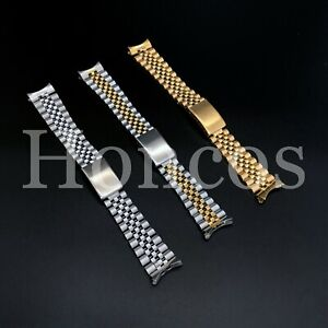 13 - 20mm Stainless Steel Curved End Jubilee Watch Band Bracelet Fits Rolex 2021