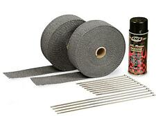 """Header / Turbo Down Pipe Exhaust Wrap Kit 2"""" 100' w/ Clamps + Paint BLACK/BLACK"""