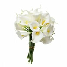 Wuudi 20pcs Calla Lily Bridal Wedding Bouquet head Latex Real Touch Flower White