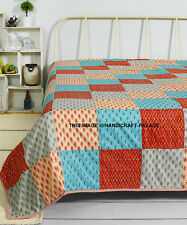 11313Size Indian Cotton Quilt Reversible Blanket Throw Ac Dohar Bedspread