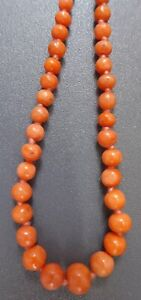 DELIGHTFUL, LONG, VINTAGE REAL CARVED, SALMON CORAL BEAD NECKLACE 10g