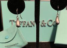 Tiffany&Co Elsa Peretti Teardrop Earrings Sterling Silver Pouch and Box