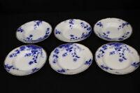 """6pc RARE Vintage WH Grindley & Co. Flow Blue DUCHESS 9"""" GOLD Rim Soup Bowls"""