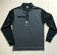 Footjoy Titleist Men's Long Sleeve Golf Polo Shirt Size M Black Tour Issue Pro