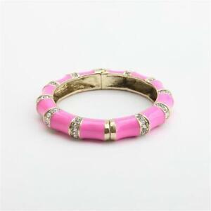 Heidi Daus  Bandwidth Hot Pink Enamel Crystal Bangle Bracelet Large