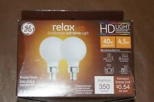 GE Relax 2-Pack 40 W Equivalent Dimmable Soft White Globe G16.5 LED Light Fixtur