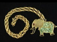 Vintage Gold Tone Elephant Necklace w/ Chain Jade Chips Red Rhinestone Eye