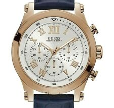 GUESS MEN'S NAVY BAND CLEAN FACE CHRONOGRAPH WATCH,  W1105G4, NEW. IN BOX,