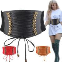 Women Wide Waist Belt Leather Lace Up Elastic Stretch Corset Cinch Waistband HOT