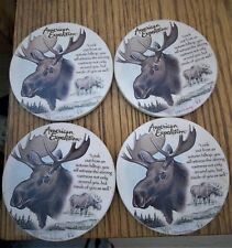 Moose stone coaster set cork bottoms excellent used (display only)