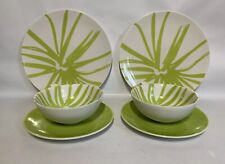 ASA Germany Two Pairs 1960s Style Green Leaf Design Cups, Saucers & Side Plates