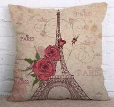 18''Cotton Linen Vintage Home Decor Pillow Case Square Cusion Cover Eiffel Tower