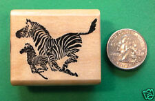 Zebras Rubber Stamp, Wood Mounted