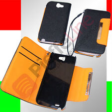 custodia in eco PELLE NERA flip case stand SAMSUNG  N7100 GALAXY NOTE 2