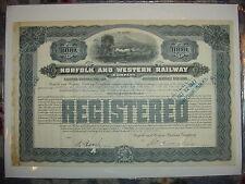 1925 $1,000 Norfolk & Western Railway Company Bond Stock Certificate Railroad