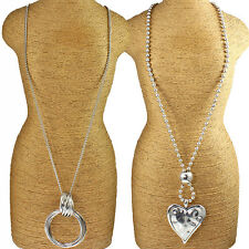 Two types large silver chunky heart pendant & twisted ring long necklace designs