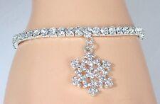 NEW Stretch Tennis Bracelet w Crystal Clear Swarovski Crystal & Snowflake Charm