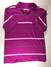 Men's Nike Golf Purple Striped Dri Fit Polo Size Medium