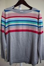 Talbots Nylon Blend Multi-Colored Striped Crew-neck Sweater Size - XL