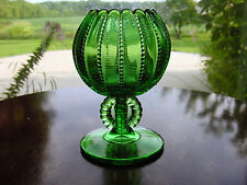 ViNTaGe Green Beaded~CuPPeD BaLL~Footed ArT GLaSs Ivy/RoSe Bowl Chalice Vase