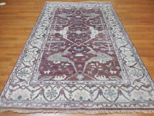 Veg Dye Hand Knotted Turkish Pure Wool Serapi Heriz Oushak Caucasian Rug 5x7.9