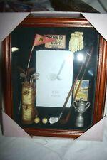 "Estate Nib Wood Shadowbox Frame ""Born to Golf"" with glove, bag, clubs, balls,Wow"
