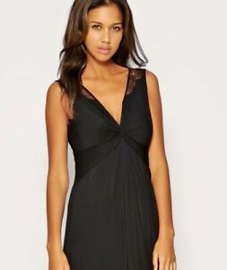 COAST CECILY BLACK RUCHED JERSEY SHEER LACE BACK EVENING MAXI DRESS 10 ONCE £160