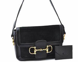 Authentic CELINE Shoulder Bag Suede Leather Black 0339A