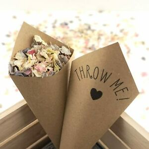 Handcrafted Throw Me! Wedding Confetti Cones 100% Recycled Sets of 10 - 100