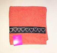 "New Betsey Johnson Coral,Salmon,Orange+Black Hearts Cotton Bath Towel( 27""x52"")"