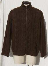 TRICOTS ST RAPHAEL Brown Alpaca Wool Chunky Cable Knit Zip Cardigan sz Men's XL