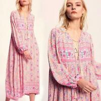 Vintage 70s Hippie Style Women Pink Floral Print V-Neck Ethnic Boho Tunic Dress
