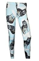 GOTHIC LADIES WOMENS NEW WOLF ANIMAL PRINT ALTERNATIVE LEGGINGS SIZE 8 - 22