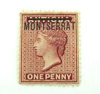 .MONTSERRAT 1876 MINT QV ONE PENNY 1d MH HIGH GRADE STAMP. NICE !!