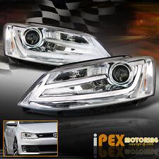 BRIGHTEST (LED DRL Bar) 2011-2014 VW Jetta MK6 MK-6 Projector Chrome Headlights