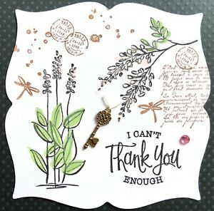 Handmade By Susie Vintage Garden Charm Thank You Card Topper FLAT RATE UK P&P
