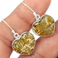 Golden Cacoxenite - Heart 925 Sterling Silver Earrings Jewelry EE155702