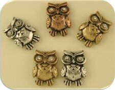2 Hole Beads Owls 3T Silver Copper Gold Clear Swarovski Crystal Elements ~ QTY 5