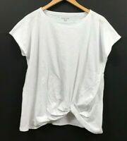 Eileen Fisher Women's Organic Cotton Tee White Short Sleeve Twisted-Front Top XS