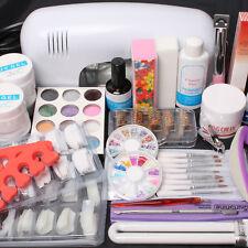 US Seller 25 in1 Nail Art UV Gel Kits 9W UV Lamp Dryer Brush Tips Top Combo Set