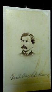 Civil War CDV: General George McClellan head & shoulders, Frederick MD