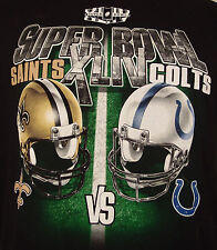 Super Bowl XLIV Saints vs. Colts helmet Graphic Tee Shirt Large Black NFL 2010