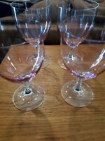Pale Pink Goblets Clear Stems Set of 4