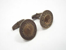 Vintage Mexico Sterling Silver Aztec Calendar Cuff Links, Crown Mark