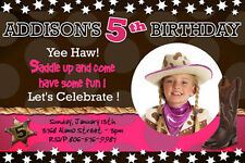 COWGIRL COWBOY WESTERN HORSE RODEO BIRTHDAY PARTY INVITATION PHOTO 1ST - c1
