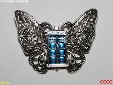 Lo Steampunk Spilla Badge Pin Farfalla Tardis Doctor Who timelord scifi Police Box