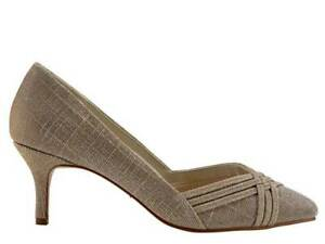 Rainbow Club Pippa - Lattice Detail Gold Metallic Mid Heel Court Shoe RRP79