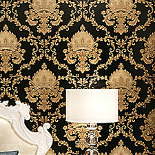 Black Luxury Metallic Gold Texture Vinyl Damask Wallpaper Home Decor