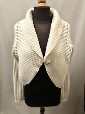 Ladies Cream Chunky Long Sleeve Knitted Cardigan Jumper UK 18/20